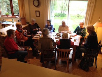 Pictured above a home group regular meeting of fellowship and study. The group were working their way through the series 'Glimpses of God'